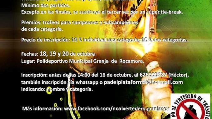 bCARTEL TORNEO DE PADELPlataformaGranjaCoxNoAlVertedero