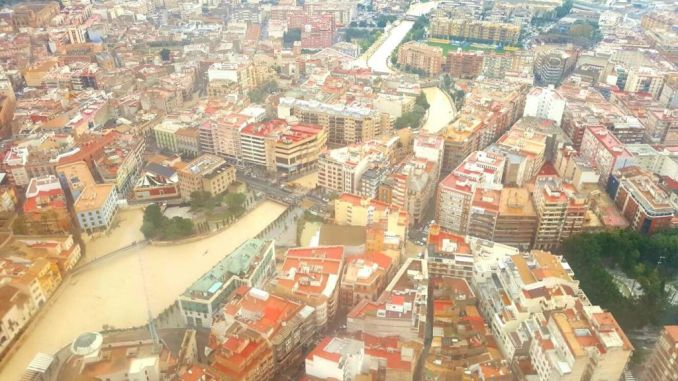 aerial view Segura flooding