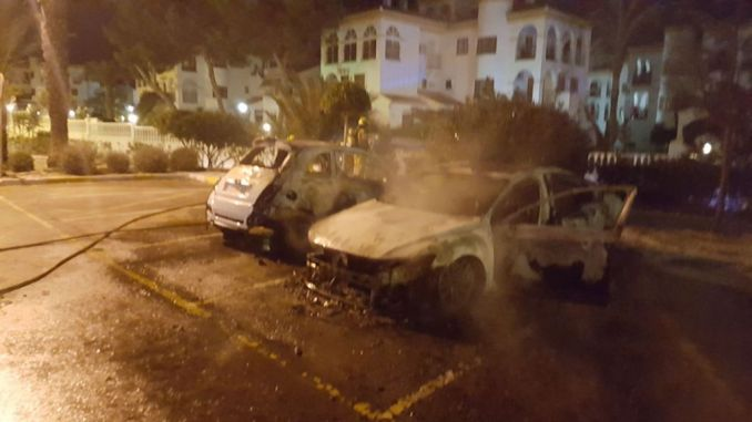 burned police officers cars