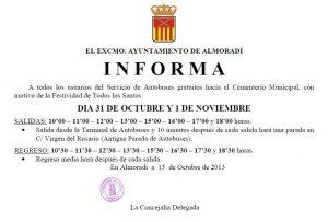 Almoradí pone un autobús gratis al cementerio municipal por Todos los Santos