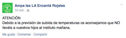 captura Facebook AMPA La Encanta