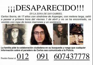 Se establece un amplio dispositivo de búsqueda para localizar al joven Carlos Iborra