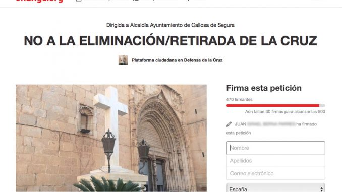 Eliminación cruz Change.org