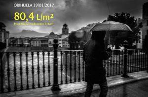 Orihuela cuadruplicó ayer la media de precipitaciones en el mes de enero
