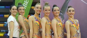 Dos jóvenes gimnastas oriolanas se alzan con la medalla de plata en el Campeonato de España Base de Gimnasia Rítmica