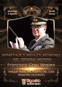 Bigastro rendirá homenaje a Francisco Grau Vegara el próximo domingo