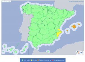 La Agencia de Meteorología activa el aviso amarillo por lluvias