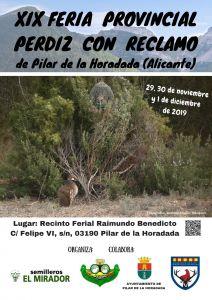 La XIX Feria Provincial de la Perdiz con Reclamo se celebrará en Pilar de la Horadada