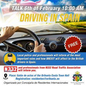 El Ayuntamiento organiza una charla a los conductores sobre las normas de circulación y el Brexit en Orihuela Costa